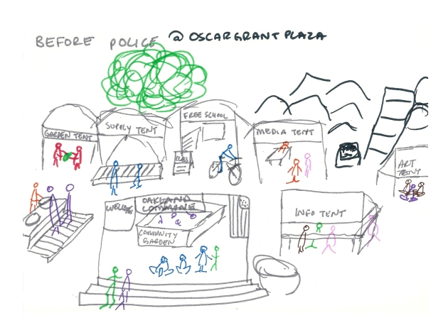 Drawing of the Occupy Oakland encampment Oscar Grant Plaza before the raid