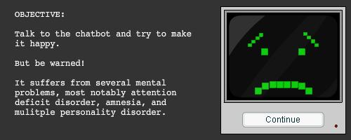 Screen explaining Chatbot's mental disorders
