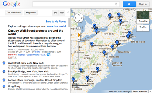 This Google Map shows a snapshot of the movement just after the eviction of the Occupy Wall Street organizers from the park.