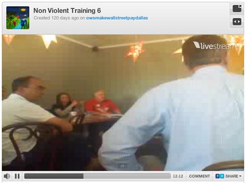 A media file showing local non-violent training occurring at Occupy Dallas.