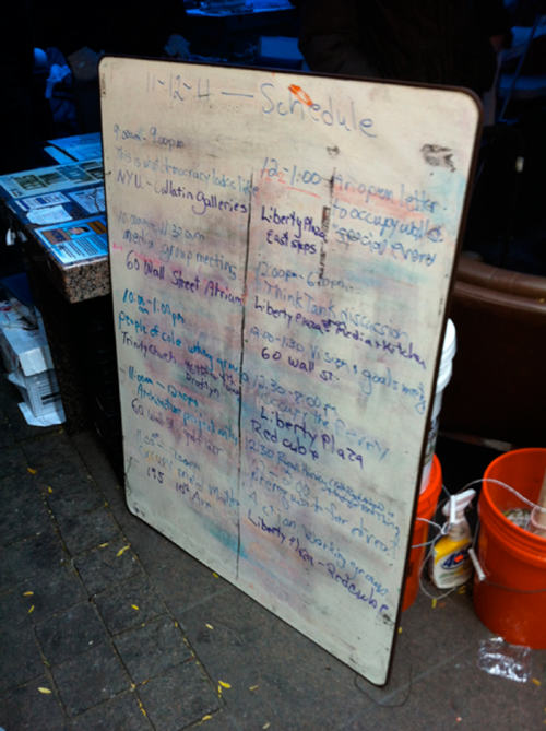 An in-park whiteboard posting the days activities.