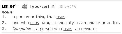 """User"" definition from dictionary.com"