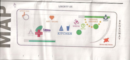 "This map, published in the ""Occupy Wall Street Journal"" shows how the occupiers laid out their camp."