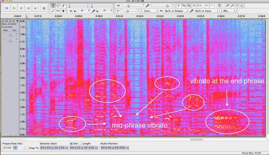 Spectrogram of enka-style vibrato