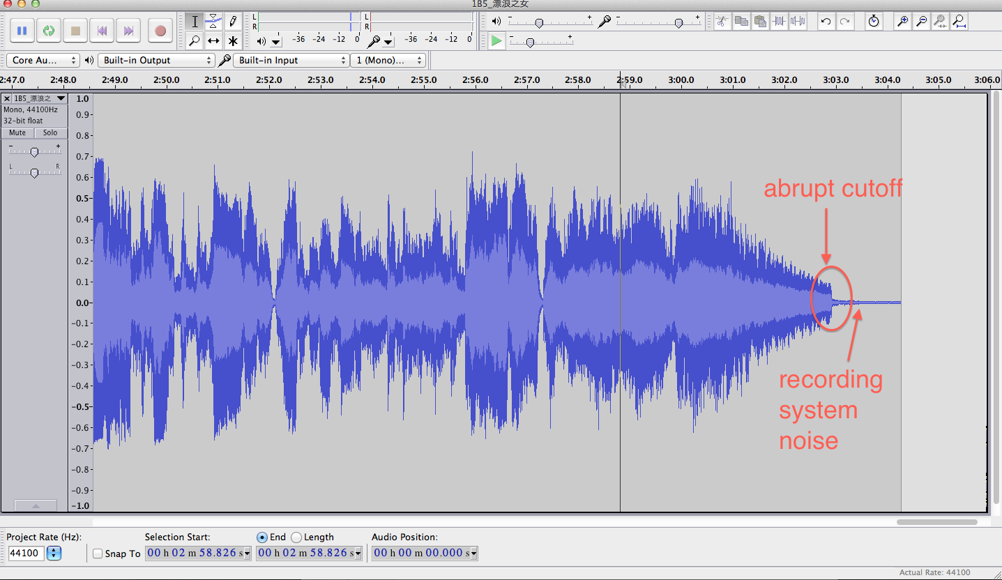 Waveform shows an abrupt amplitude reduction in Audacity