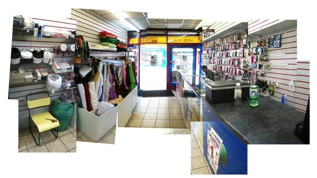 A single store hosting a mobile phone vendor, dressmaker, and a booth for money wires at the rear of the shop.