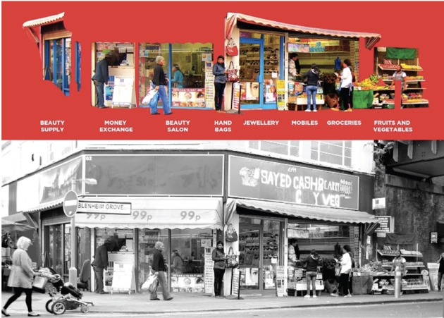 An individual storefront subdivided from 1 to 8 businesses over the course of 3 years.(Courtesy of Nicolas Palominos & LSE Cities 2012)