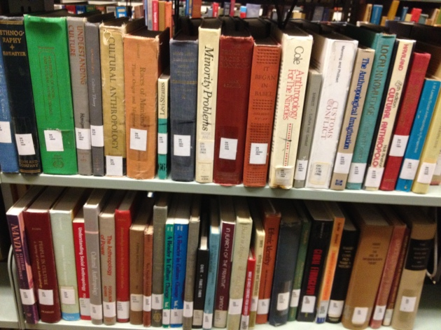 Ethnographic monographs in the stacks in the Occidental library