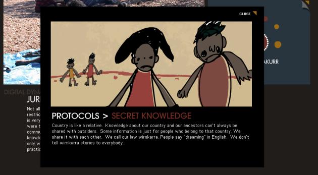 """""""Dinâmica Digital Através das Culturas"""" - ilustrando o protocolo Warumungu do conhecimento secreto"""