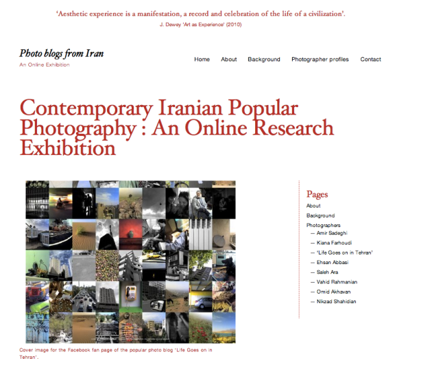 Figure 2: Collaborating with Participants. Screenshot Cover Page of                    www.photoblogsiran.com: an Online Research Exhibition