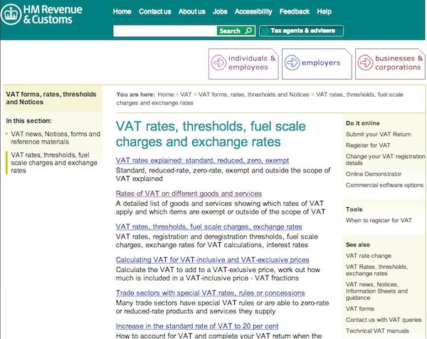 VAT before GDS redesign.