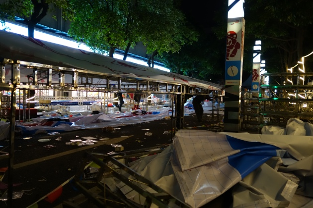 Shenzhen maker faire tents being torn down